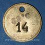 Münzen Lyon (69). Société des Travailleurs Unis. 25 centimes. Percé et 14 en contremarque au revers