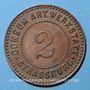 Münzen Strasbourg (67). Consum-Genossenschaft Artillerie Werkstadt. 2 (pfennig)