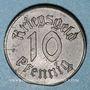 Münzen Strasbourg (67). Ville. 10 pfennig 1918. Fer. Défaut de découpe du flan