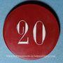 Münzen Vichy (03). Casino. 20 francs. Plastique translucide rouge, gravé et peint en blanc