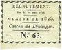 Münzen Canton de Drulingen (67, Alsace). Classe de 1823. Tirage au sort N° 63